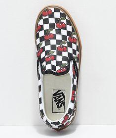 f8c4fdbb679e Vans Slip-On Cherry Black   Gum Checkered Skate Shoes