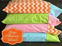 This step by step tutorial of how to sew homemade simple colorful pillowcases is a great beginner skill level project that adds a splash of color to your bedroom.