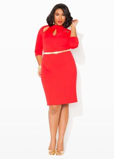 b9794e4c413 Ashley Stewart Cutout Neck Long-Sleeve Plus Size Dress Unique Clothes For  Women