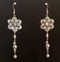 Pierced drop dangle silver fish hook earrings glass bead handcrafted flower #Handmade #DropDangle