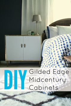 Midcentury Gold Leaf Edged Nightstands/Cabinets makeover.  Love this!