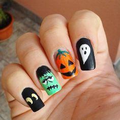 "Páči sa mi to: 43, komentáre: 3 – Domi Králiková (@domi_nailart) na Instagrame: ""Halloween 2016 #halloween2016 #halloweennails #ghost #frankenstein #pumpkin #pumpkinnails #eyes…"""
