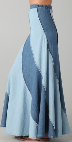 Free People Contrast Denim Maxi Skirt