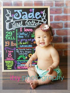 chalkboard idea for birthday party one year old girl