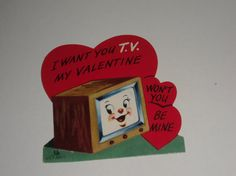 Vintage Greeting Card Valentine TV Television Anthropomorphic