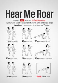 Hear Me Roar Workout – Concentration – Full Body – Difficulty 4 – Not Suitable f… – Fitness Lifestyle Upper Body Workout For Women, Workout Routines For Women, Workout Plan For Women, At Home Workouts, Workouts Hiit, Cardio Hiit, Studio Workouts, Fitness Workouts, Kickboxing Workout