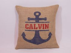 Custom made personalized name burlap navy blue and by ShamShack