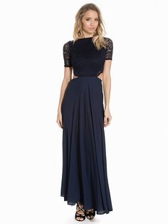 Lace Detailed Open Back Maxi Dress