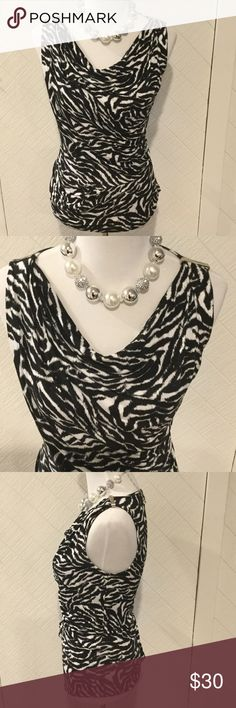"Michael Kors Black & White Zebra Print Tank Blouse Super cute Michael Kors Zebra print tank blouse with drape front neckline and rushing, size S.  Approx. 23"" long, chest 34"".  Happy to answer questions, thanks!❤️ Michael Kors Tops Tank Tops"