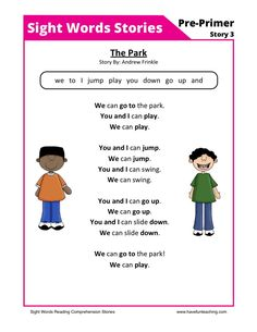 This Reading Comprehension Worksheet - The Park is for teaching reading comprehension. Use this reading comprehension story to teach reading comprehension.