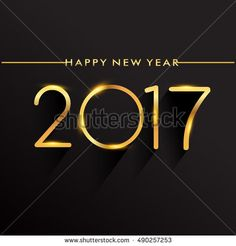 Happy New Year 2017 isolated on black background, text design gold colored, vector elements for calendar and greeting card.