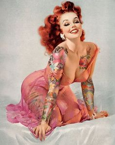 Gil Elvgren Pin up shopped with tattoos