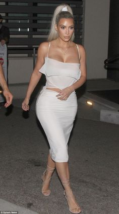 A step in the right (style) direction: Kim Kardashian was seen leaving Bel-Air restaurant in LA on Wednesday evening