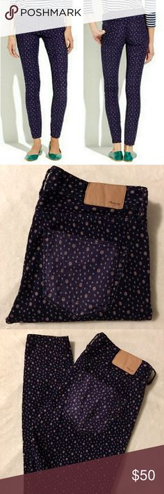 FABULOUS MADEWELL PURPLE POLKA DOT JEANS SZ 24 These have got to be my favorite jeans by far. They are in like new condition & look amazing on. They are purple with a lighter, lavender polka dot pattern & the pocket is lighter than the rest of the jeans. The material is a corduroy, rather than a jean. I'm looking for a larger size bc they're fab!! Make an offer on a bundle for a discount & ask any questions you may have. Thank you.:) Madewell Jeans Skinny