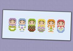 Cute little Matryoshka Dolls  PDF cross stich by cloudsfactory