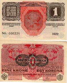 Austrian bank note, austria 1 krone Helmeted warrior's bust at centre on back. Ephemera, Austria, Stamps, Collections, Money, Happy, Stop It, Coining, Report Cards
