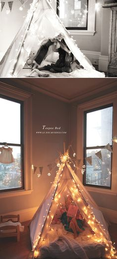 Create a magical place for your precious ones to go to bed: Kid's teepee bed by Le Zoe Musings