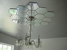 diy mirror ceiling light medallion Maybe this with an open bulb design light .it would hide the different paint color. Mirror Ceiling, Ceiling Lights, Ceiling Ideas, Wall Mirrors, Mirror Mirror, Circle Mirrors, Ceiling Decor, Sunburst Mirror, Bedroom Ceiling