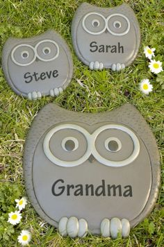 Personalized Owl Stepping Stones