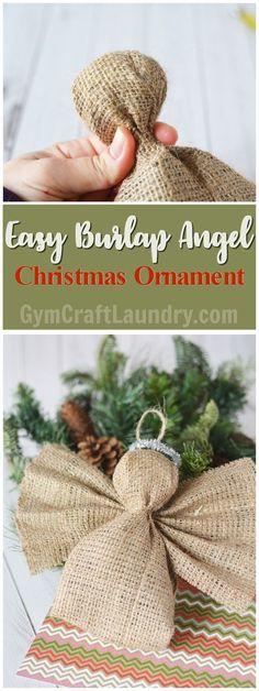 Easy Homemade Christmas Craft. Make this adorable burlap angel ornament!