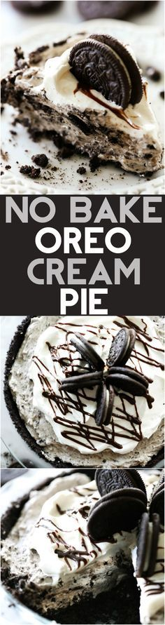 No Bake Oreo Cream Pie... This is such an amazing dessert with a delicious homemade Oreo crust and cookies and cream filling! It is my husband's FAVORITE dessert!