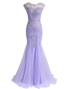 Lavender Beaded Mermaid Prom Dress with Illusion Sweetheart Neckline and Sheer Open Back