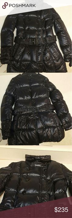 Barely Worn Burberry Women's Down Puffer JacketUS4 This beautiful jacket is one of my favorite statement items I have owned but it is too small for me. US 4 , belted, very dark navy blue,  real Burberry Burberry Jackets & Coats Puffers