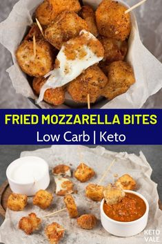 Keto Fried Mozzarella Bites Delicious and easy to make, these. - Keto Fried Mozzarella Bites Delicious and easy to make, these mozzarella bites w - Low Carb Appetizers, Appetizer Recipes, Low Carb Desserts, Aperitivos Keto, Cena Keto, Comida Keto, Diet Recipes, Healthy Recipes, Low Carb Crockpot Recipes