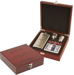 Flask Set ENGRAVED in Rosewood Box with shot glass, funnel, cards, and dice by GiftsAndEngagements on Etsy