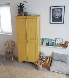 I had serious cupboard envy in my nephew's bedroom today, isn't it just the ultimate yellow? And that teeny chair, such a lucky little man… Baby Bedroom, Girls Bedroom, Bedroom Decor, Bedroom Chair, Bedroom Plants, Trendy Bedroom, Bedroom Colors, Bedroom Ideas, Make Your Bed