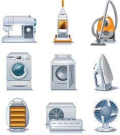 Illustration about Set of the detailed domestic appliances icons. Illustration of infrared, dryer, household - 11887339 Electrical Appliances, Home Appliances, Vintage Appliances, Pre School, Graphic Design Art, Clipart, Teaching Kids, Paper Dolls, Planer