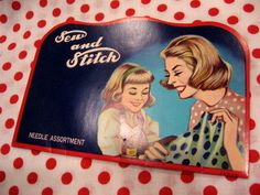 Vintage Sew Stitch Mother Daughter Needle Book Sewing Notion