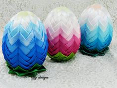 Ombre Easter egg decoration quilted ornaments ornament egg artichoke egg quilt Easter decorations, happy Easter eggs decorated egg fabric ****** These Easter eggs made by handmade from satin ribbon in artichoke technique to a Styrofoam egg . This is a great Easter table decoration or you can