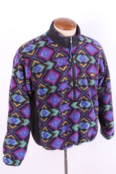 VINTAGE 90S REI SOUTHWEST AZTEC ETHNIC FLEECE PULLOVER JACKET MENS XS