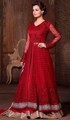 Let your adorable looks create a stunning impact just like Dia Mirza as you walk out in this red color embroidered net lehenga choli dress. The fantastic attire creates a dramatic canvas with brilliant lace, resham and stones work. #lehengacholidress #bollywood #diamirza