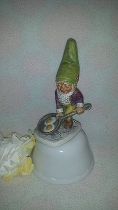 "$32-V Goebel Co-Boy Well 503 ""Bit the Bachelor"" Figurine 1970 W. Germany Famous Gnome Bachelor  * Goebel Gnome * Frying Eggs TMK4 by JunkYardBlonde on Etsy"