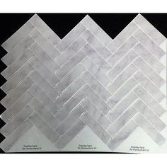 "Peel&Impress Self Adhesive backsplash tile - MARBLE HERRINGBONE - 11"" X 9.25"" - 4 pack - Walmart.com"