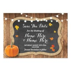 Save The Date Rustic Pumpkin Lights Chalk Wood Card - wedding invitations diy cyo special idea personalize card