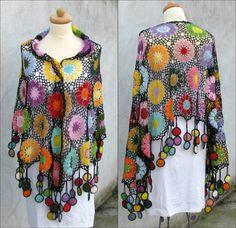 Las mujeres accesorios coloridos algodón Crochet chal por kovale