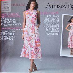 Modern Women's Dress Sweetheart neckline Slit neckline sewing pattern. Size 16, 18, 20, 22, 24 Bust 38 to 46