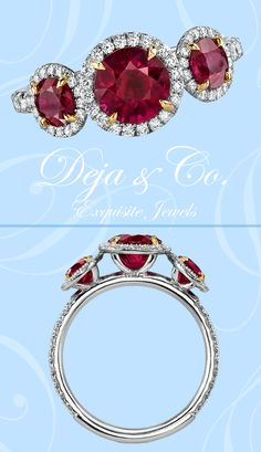 Just in!  Come to the boutique and try on this stunning three stone Ruby ring!  The center stone is 1.02ct, with the side stones totaling 0.80ct and 0.47ct in diamonds!