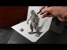 3D Drawing Godzilla, Trick Art, Optical Illusion by Vamos - YouTube