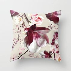 Pink magnolias throw pillow, 22x22 or 18x18 inches, soft velveteen bed pillow decorative pillow cover pinks, Japanese cherry blossom cushion