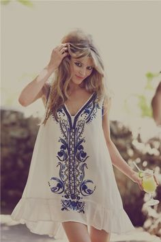 Embroidered white dress.