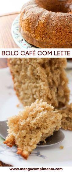Bolo Café com Leite | Para servir no Café da Manhã ou no Lanche da Tarde! Other Recipes, Sweet Recipes, Cake Recipes, Dessert Recipes, Food Cakes, Cupcakes, Cupcake Cakes, Trifle, Brazillian Food
