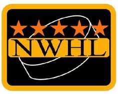 National Women's Hockey League Primary Logo (2000) - 'NWHL' in black inside a black and orange rounded rectangle