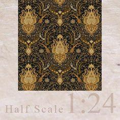 "3x Wallpaper ""Cottage Paisley"" (black) 1/24"