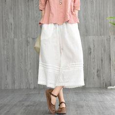 Wide Leg Linen Pants, Retro Summer, Fashion Company, Cotton Linen, Elastic Waist, Midi Skirt, Sewing Projects, Pants For Women, Legs