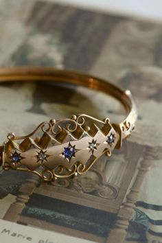 アンティークゴールドブレスレットバングル ダイヤモンド ブルーサファイア エドワーディアン イギリス