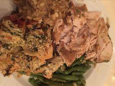 Turkey, g beans, stuffing and veggie lasagna, Echo Lake Lodge wedding, October 2016.